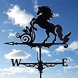 Wetterfahnen Pferdemodellierung Wetterhahn ,Retro Windrichtungsanzeiger aus Metall mit Fester Halterung,Wetterfahne Betreff Dach Deko,für Garten Gartenhaus Dach Terrasse Hof Ornament (30cm*55cm)