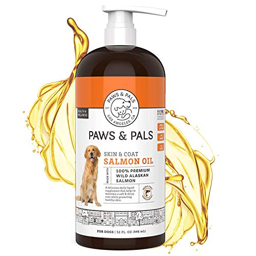 Paws & Pals Wild Alaskan Salmon Oil for Dogs & Cats - 32oz of 100% Pure Fish Oil Liquid Food w/ Omega 3 & Natural EPA + DHA - Skin Coat Dog Shedding Supplements Joints  Immune System & Heart Function