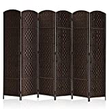 Rose Home Fashion RHF 6 ft.Tall-15.7' Wide Diamond Weave Fiber 6 Panels Room Divider/6 Panels Screen Folding Privacy Partition Wall Room Divider Freestanding 6 Panel Dark Coffee