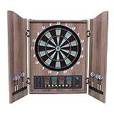 Diana Electrónica con Puertas, Juego de Dardos Electrónico con Pantallas de LED 27 Juegos 243 Variaciones para 16 Jugadores para Fiestas, Unisex Adulto,Wood
