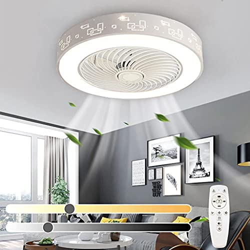 Fan Iluminación De Techo Moderno Ventilador LED Luz De Techo Con Control Remoto Ventilador Silencioso Ajustable De 3 Velocidades Luces Colgantes Dormitorio Sala De Estar Comedor Candelabro (White)