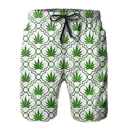 Men Beach Shorts Green Marijuana Leaf Pattern Summer Swim Trunks Quick Dry Board Shorts Funny 3D Printed Beachwear with Drawstring L