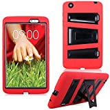 Cellularvilla Kickstand Case for LG G Pad 8.3' Inch Red Black Hybrid Armor Hard Soft Kickstand Case Cover Protector with Stand