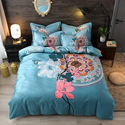BH-JJSMGS Printed duvet cover and pillowcase, bedding-fade-resistant and stain-proof, with zipper opening and closing, 150 * 200cm sea blue