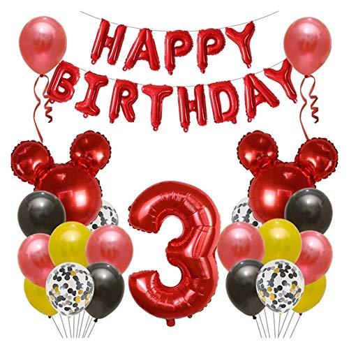 JSJJARF Globos Feliz cumpleaños Decoración Globo Mickey Minnie Mouse Head Ballon Number Foil Ballon Dibujos Animados Confeti Globos (Color : 3)