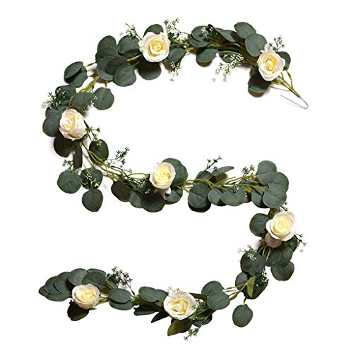RTPUYTR 2 Meters Eucalyptus Leaves Garland with Rose Flowers Artificial Vines Plant