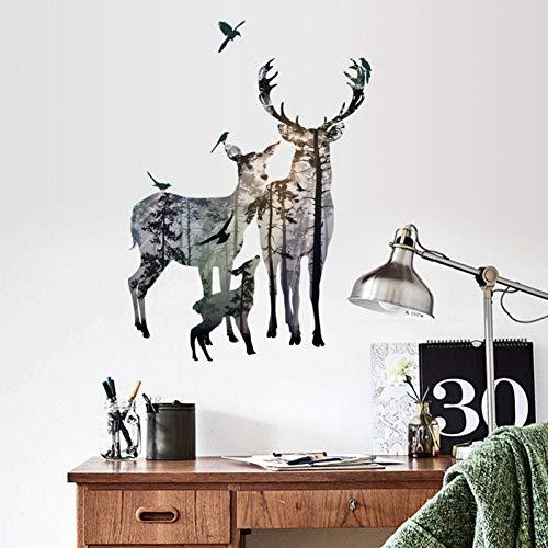 Qingyu muurstickers, knutselen, bos, hert, vogels, muursticker, voor woonkamer, foto, studio, restaurant, kantoor, wanddecoratie