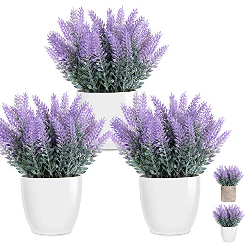 LELEE Artificial Lavender Flowers Plants Fake Potted Plants, 3 Pack Mini Potted Faux Decorative Lavender Plant with White Plastic Pot for Home Decor, Gift, Office, Desk, Shelf, Table Decoration