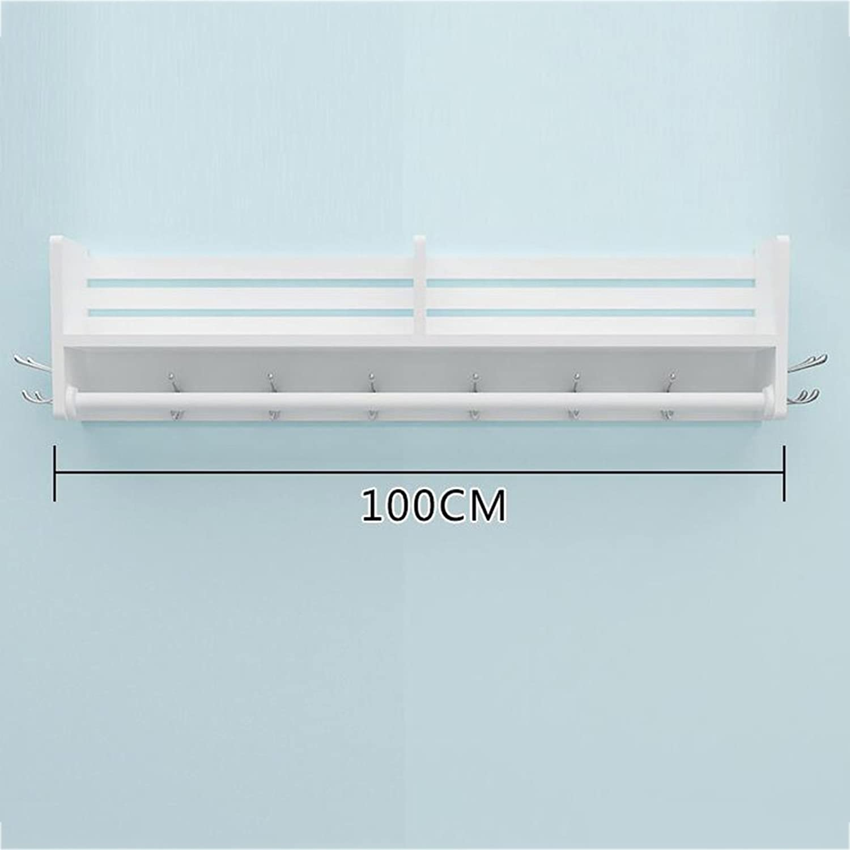 Tingting-Wall Mounted Coat Rack Single Shelf Multiple Metal Hooks Single Crossbar Nail Inssizetion Decoration (3 Styles, 4 (color   White, Size   40CM)