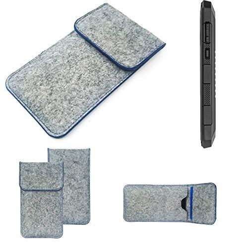 K-S-Trade Filz Schutz Hülle Für Cyrus CS 24 Schutzhülle Filztasche Pouch Tasche Hülle Sleeve Handyhülle Filzhülle Hellgrau, Blauer Rand