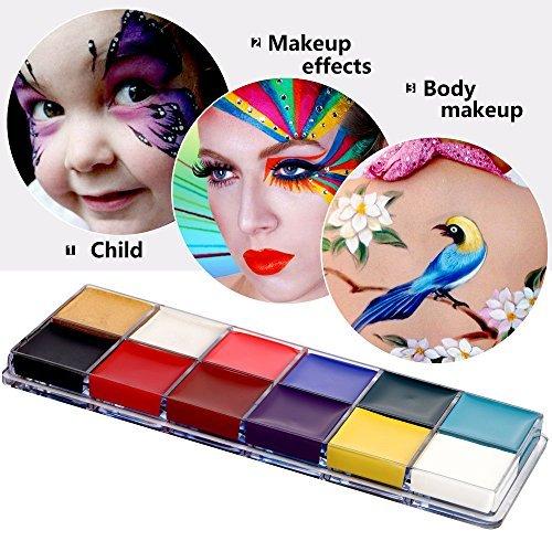 Mermaid, 12 colori per il bodypainting, colori per il corpo e il viso, per Halloween, Carnevale e trucco per recite in maschera