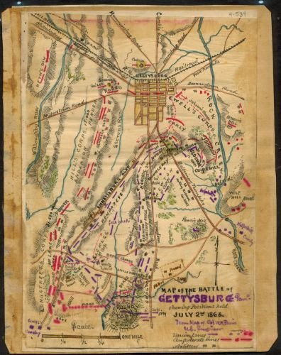 1863 Map of the Battle of Gettysburg, Penna. : showing positions held July 2nd 1863. This map shows the disposition of troops on this second day of the battle. The designation '5 p.m.' appears slightl