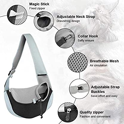 You Pet Dog Sling Carrier, Breathable Mesh Travelling Pet Hands-Free Sling Bag Adjustable Padded Strap Front Pouch Single Shoulder Bag for Dogs Cats 3