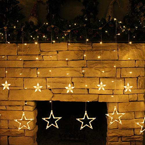 2Packs 12Stars 138LED Window Curtain String Lights Fairy Lights 8 Flashing Modes Decoration Remote Control for Christmas Home Holiday Festival Party Wedding Bedroom Indoor Outdoor Decor (Warm White) 6
