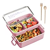 Stackable Bento Box Lunch Containers, Iteryn 3-In-1 Compartment Bento Lunch Box 2 Tier with Spoon...