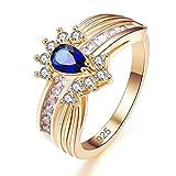 YAZILIND Azul lágrima Cubic Zirconia Anillo Oro Plateado Rhinestone Compromiso para Mujeres tamaño 16, 5