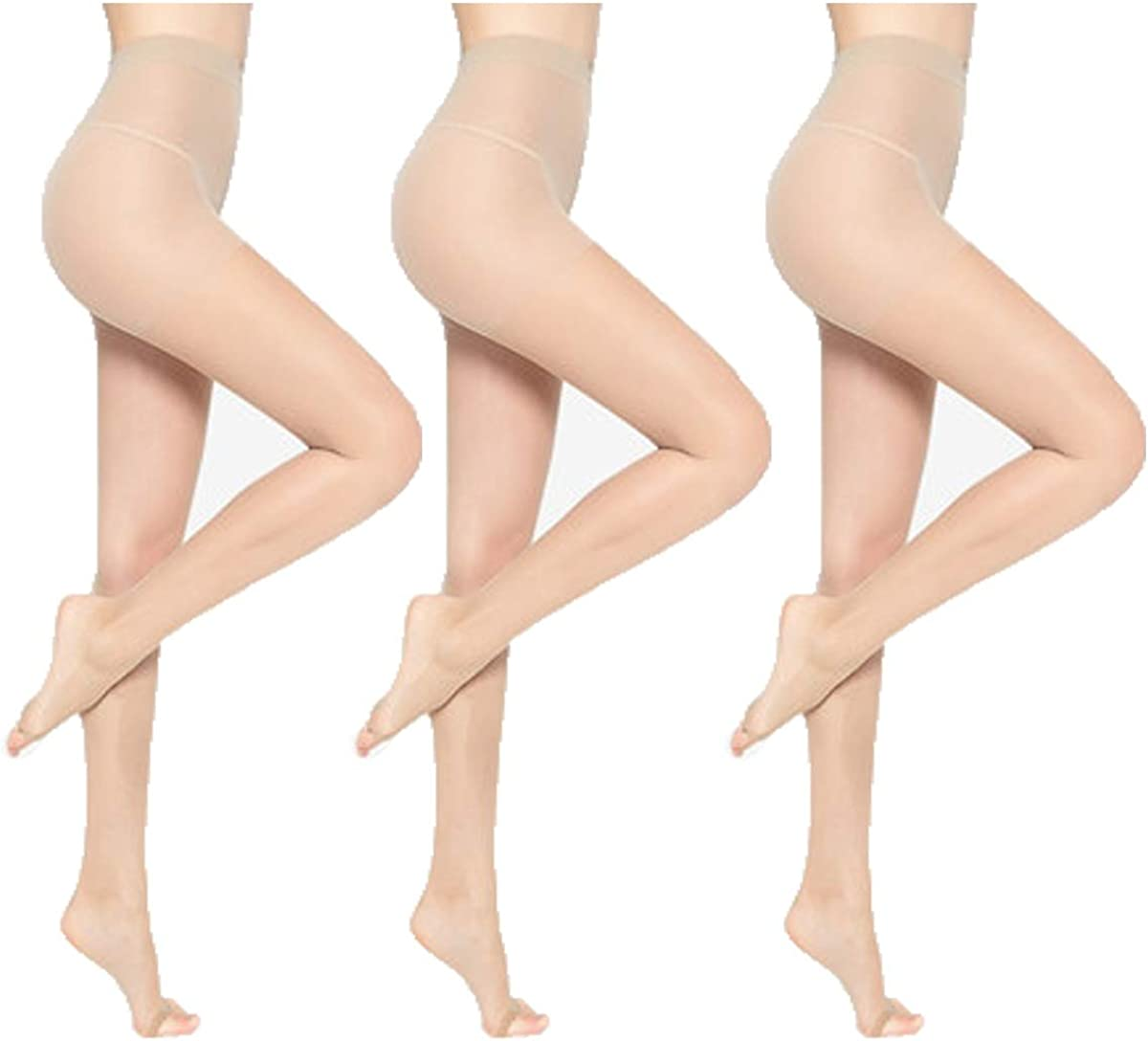 3 Pack Toeless Pantyhose for Women,15d Sheer Opentoe Sandalfoot Pantyhose Stocking Tight for Heels/Shoes/Boot/Pumps/Sandals