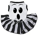 Petitebella Ghost Face White Shirt Striped Tutu Puppy Dog Dress (X-Large)