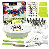 Kraeoke - Set de decoración para tartas (plato giratorio con 46 accesorios, soporte para tartas)