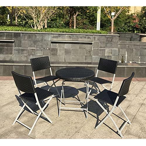 Rattan Klapptisch und Stuhl Kombination, Gartenbalkon Villa Café Gartenmöbel, tragbar und faltbar, Sonnen- und regensicher, Picknicktisch im Freien und Grilltisch
