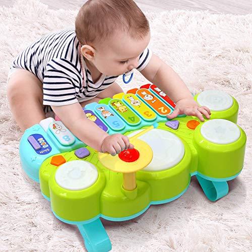 Ohuhu Table de Xylophone Musique Jouets Jouets Multifonctions Ensemble de Batterie pour Enfants, d'apprentissage électroniques pour bébés Cadeaux d'anniversaire de Noël pour Tout-Petits Enfants