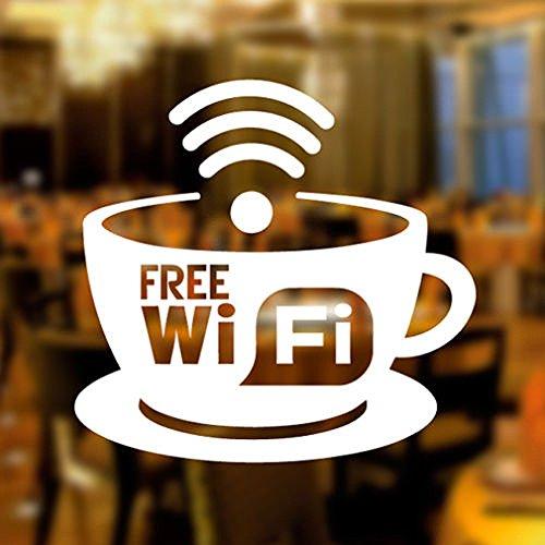 Wall4stickers Free WiFi Tasse Fensteraufkleber Vinyl Aufkleber Grafik Cafe Geschäft Salon Bar Restaurant Frei W-LAN