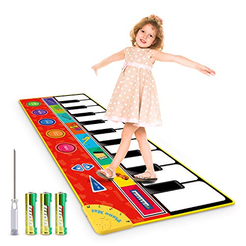 "Magicfun Kids Musical Mat, Musical Piano Mat 8 Instrument Sounds 5 Play Modes with 3 AA Batteries and 1 Screwdriver Dance and Learn Mat for Boy Girl Toys 58.26"" x 23.62"""
