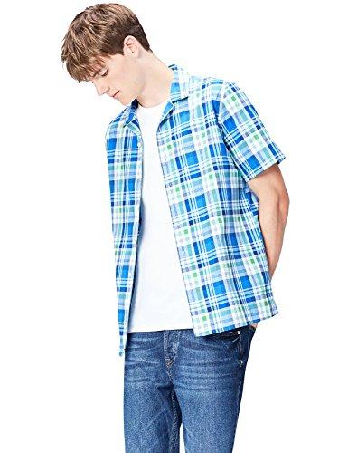 Amazon-Marke: find. Herren Kurzärmeliges Hemd mit Karomuster, Blau (Blue Mix), L, Label: L