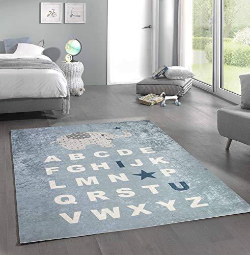 Merinos Kinderteppich ABC Lernteppich Alphabet Spielteppich mit Elefant in Blau Größe 120x160 cm