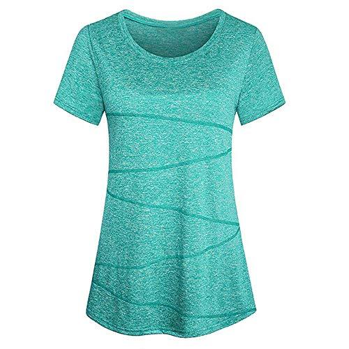 Kobay Sportshirt Damen Kurzarm Locker Bluse Yoga Oberteile Activewear Running Workout T-Shirt(M,Grün)