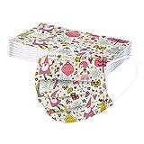 40 Piezas Niños, 𝐌𝐚𝐬𝐜𝐚𝐫𝐢𝐥𝐥𝐚𝐬, 3 Capas con Elástico para Los Oídos para Impresión mariposa Helado de nube linda Seguro Suave personal
