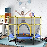 EQian 60Inch Trampoline for Kids Boys Girls 5FT Mini Toddler Trampoline with Enclosure Net Basketball Hoop Indoor Outdoor Trampoline Birthday Gifts Age 3-12, Blue Trampoline