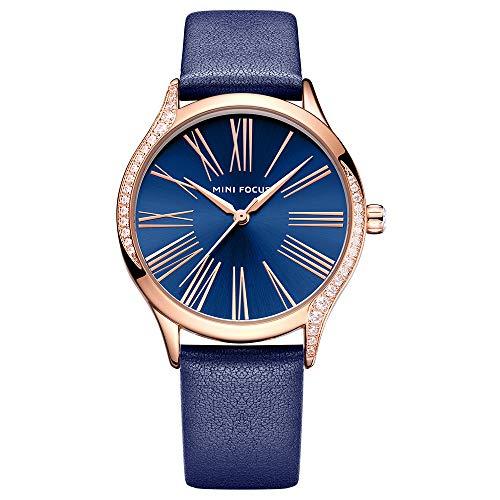 Reloj de pulsera analógico de cuarzo para mujer, color azul, de lujo, MF025903