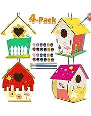 Actividades para niños Arte y manualidades para niños Paquete de 4 bricolaje Kit de casa de pájaros para que los niños construyan y pinten proyectos de arte creativos Regalos de fiesta para niños