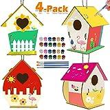 jiangwangda Aktivitäten für Kinder Kunsthandwerk für Kinder 4er-Pack DIY Bird House Kit für Kinder zum Bauen und Malen Kreative Kunstprojekte Partybevorzugungen für Jungen und Mädchen ab 3 Jahren
