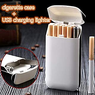 XuBa 2 in 1 Cigarette Case Lighters Rechargeable No Gas USB Windproof Flameless Electric Cigar Electronic Charging Lighter HD606_Silver