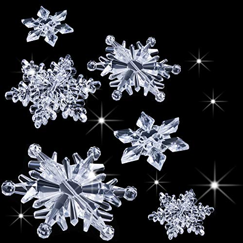 Boao 35 Pieces Acrylic Crystal Snowflakes Ornaments Xmas Tree Pendant DIY Winter Wonderland Snowflake Snow Theme Decoration (Clear)