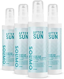 Amazon Brand- Solimo - SUN - After Sun Hydrating Body Lotion, with glycerin, Vitamin E and Aloe Vera (4x200ml)