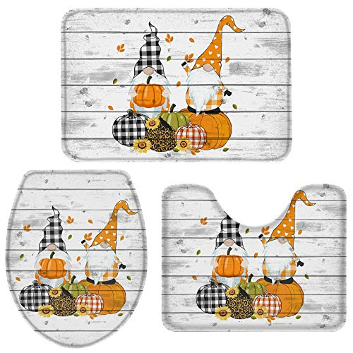 3 Pieces Bath Rugs Sets Thanksgiving Day Gnome and Pumpkin Soft Non-Slip Absorbent Toilet Seat Cover U-Shaped Toilet Mat for Bathroom Decor Wood Texture