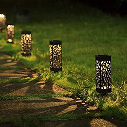 Uonlytech Solar Garden Lights Waterproof Hollow-Out Solar Ground Plug Light Landscape Lighting Decor for Pathway Lawn Patio Driveway,Warm Light,6PCS