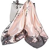 ecroon sciarpa di seta per donna grande raso quadrato testa collo sciarpe leggero neckerchief elegante sciarpina