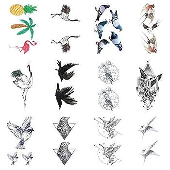SanerLian Swallow Birds Temporary Tattoo Sticker Waterproof Adult Men Women Teens Boy Girl Hand Arm 10.5X6cm Set of 12  Design1