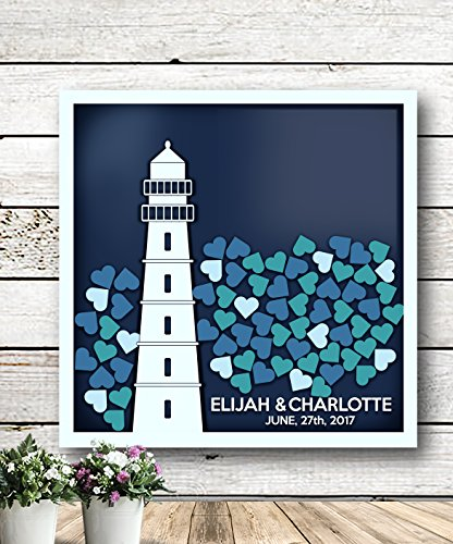 Lighthouse Guest Book - Alternative Wedding Guest Book - 3D Wedding Guest Book - Personalized Wedding Guest Book - Rustic Wedding Guest Book - Unique Guest Book - Shadow Box
