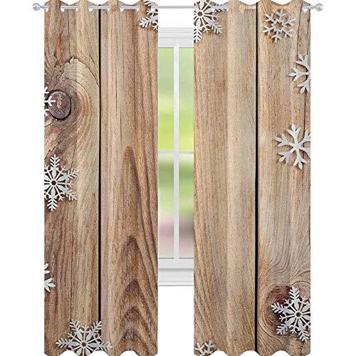 YUAZHOQI Cortina de ventana de Navidad con tablones de madera rústica, imagen con diseño de copos de nieve, cortinas de campo, para dormitorio de niñas de 132 x 241 cm, marrón pálido y blanco