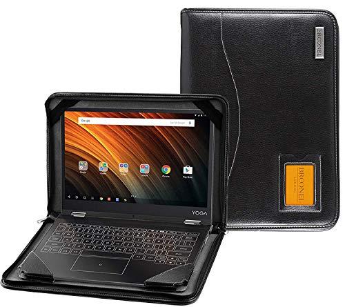 Broonel - Serie Contour - Funda Protectora De Cuero Negro De Alta Resistencia Compatible con La Lenovo Yoga C930