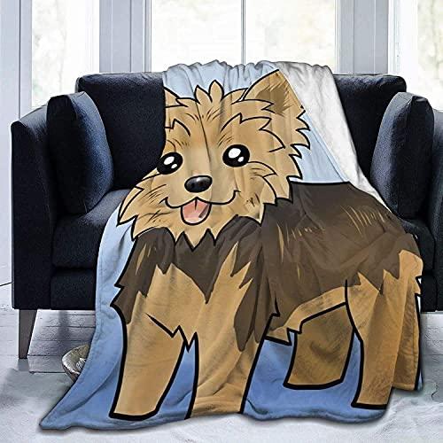Manta de manta para perro Yorkie ultra suave de micro forro polar súper suave y acogedora manta de cama para sofá, sala de estar, playa, picnic, otoño, primavera, invierno