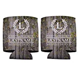 VictoryStore Can and Beverage Coolers: Custom Wedding Can Coolers - Laurel And Initial (100)