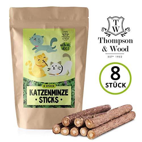 Thompson&Wood | 8X Katzenminze Sticks | Kaustäbchen | 100% Natürlich | Geeignet als Katzenspielzeug | Natürliche Zahnpflege | Besseitigung von Mundgeruch & Zahnstein