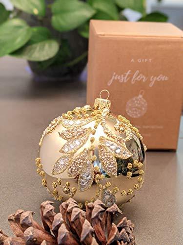 Christmas Glass Ball Decorations Polish Handmade Ornament 3.94 inch Elegant Xmas Ornaments Stylish Decor Balls for Holiday Wedding Party Round Shape Decorative Tree Hanging Decor Indoor (Gold)