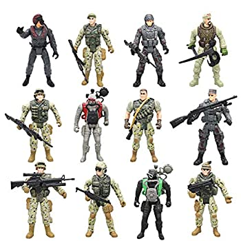 Army Men Action Figures Soldiers Toys with Weapon Accessories / SWAT Team Figure Military Playset for Boys Girls Children Kids 3 4 5 6 7 8 9 Years Old,Great as Christmas,Birthday  Set of 12